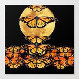 MONARCH BUTTERFLIES UNDER FULL MOON NIGHT SKY Canvas Print