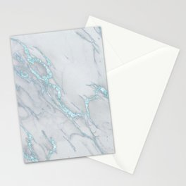 Marble Love Sea Blue Metallic Stationery Cards