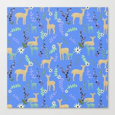 Deer and Flowers Canvas Print