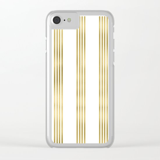 Gold small stripes on clear white - vertical pattern Clear iPhone Case