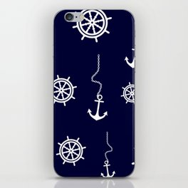 Nautical Navy Pattern with Anchors and Steering Wheels iPhone Skin