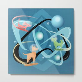 Atomic Rocket Powered Space Dogs Metal Print