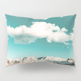 Vintage Desert Snow Cloud // Scenic Desert Landscape in Winter Fluffy Clouds Snow Mountains Cacti Pillow Sham