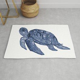 Dark Blue Watercolor Turtle Rug