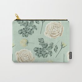 Rose Pattern Cream + Mint Green Carry-All Pouch