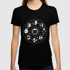 Moon Phases Womens Fitted Tee SMALL Black