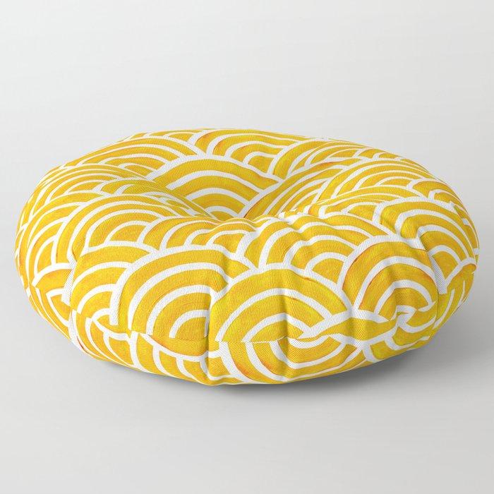Japanese Seigaiha Wave – Marigold Palette Floor Pillow