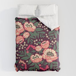11 Floral pattern with peonies.Bright pink flowers. Dark violet background. Comforters