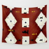 sharks Wall Tapestries featuring Poker Sharks by Pepita Selles
