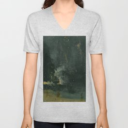 Nocturne In Black And Gold The Falling Rocket By James Mcneill Whistler | Reproduction Unisex V-Neck