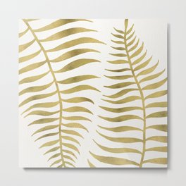 Golden Palm Leaf Metal Print
