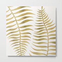Golden Palm Leaf Metal Print