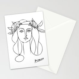 Woman Wearing Flower Crown, Minimalist Line Art Stationery Cards