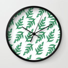 Green leaves and branch Wall Clock
