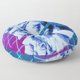 Vaporwave Sliced Greek Statue with Retro futurism background Floor Pillow