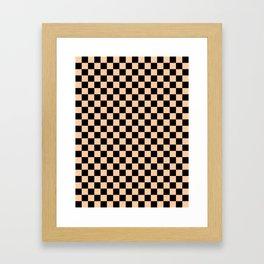 Black and Deep Peach Orange Checkerboard Framed Art Print