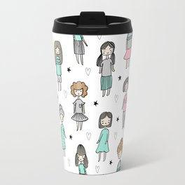 Girls illustration little women cute pattern kids rooms children gifts Travel Mug