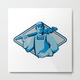 Plumber with Wrench and Hot Water Cylinder Retro Metal Print
