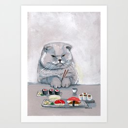 """Sushi Cat"" Mr.Grumps Art Print"