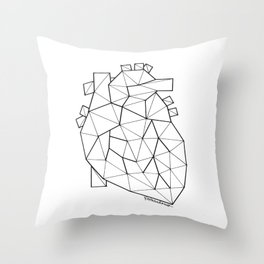 Minimal crystal heart anatomy Throw Pillow