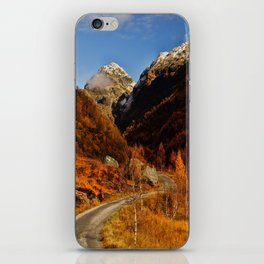 Fall in the mountains with a winding road iPhone Skin