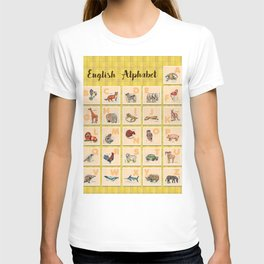hand drawn animals poster for all English letters T-shirt