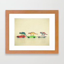 Dinosaurs Ride Cars Framed Art Print