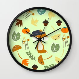 Cute fox in autumn Wall Clock