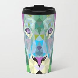 Geometric Rainbow Lion Travel Mug