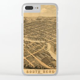Aerial View of South Bend, Indiana (1874) Clear iPhone Case