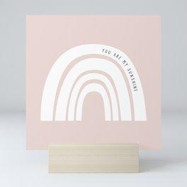 Boho Pink Rainbow - Pink & White Rainbow Pattern - Kids Rainbow Nursery Mini Art Print