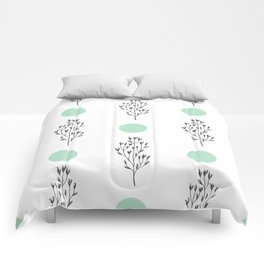 Black brunches & green dots pattern Comforters