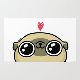 Mochi the pug loves you Rug