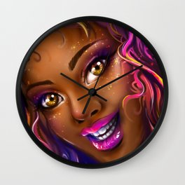 smiling colorful black island girl Wall Clock