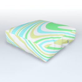 Blue, Yellow, and Green Waves Outdoor Floor Cushion