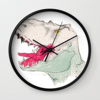 jurassic park Wall Clocks featuring JURASSIC PARK by Gianluca Floris