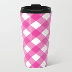 Pink & White Checkered Pattern-Mix and Match with Simplicity of Life on #Society6 Metal Travel Mug