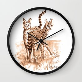 Sisters (Servals) Wall Clock