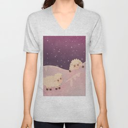 Cartoon Baby Sheep, Red Violet Snowy Bokeh Background Unisex V-Neck