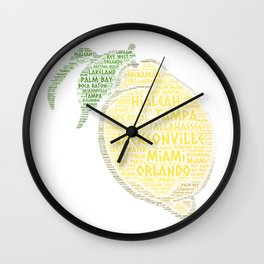 Citrus Fruit illustrated with cities of Florida State USA Wall Clock