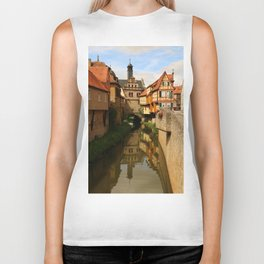 Medieval Village Reflection Biker Tank