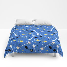 Fun ditsy print with night sky and constellations Comforters