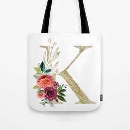 """K"" Initial, Monogram in Gold and Flowers Tote Bag"