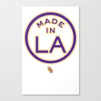 lakers Canvas Prints featuring Made in LA - LAKERS by DCMBR - December Creative Group