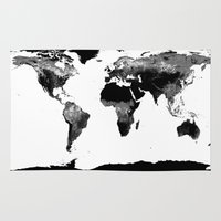 map of the world Area & Throw Rugs featuring World Map  Black & White by Whimsy Romance & Fun