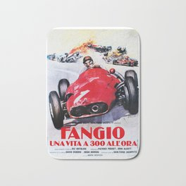 Fangio, Race poster, Vintage poster, F1 poster Bath Mat