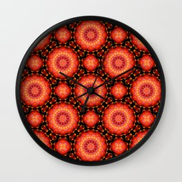 Strawberry Red - Round Flower Mandala Wall Clock