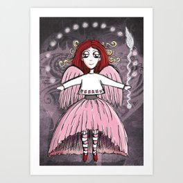 Quirky Pinkness Angel Art Print