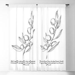 Psalm 52:8 Olive Branch Line Art Sketch Blackout Curtain