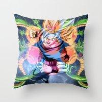 dbz Throw Pillows featuring DBZ - Goku by Mr. Stonebanks